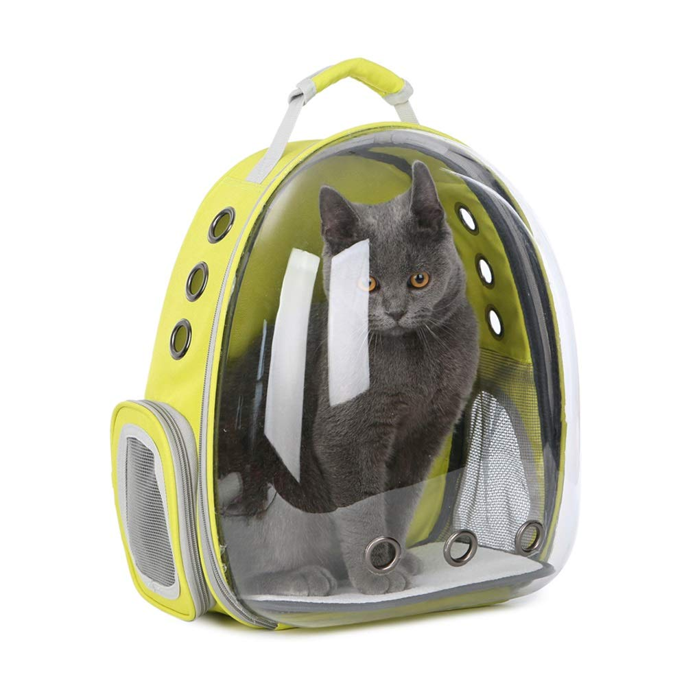 Yellow Fly® Pet Space Pack Portable Outing Cat Bag Transparent Cabin Breathable Dog Backpack Size 34x25x42CM (color   Yellow)