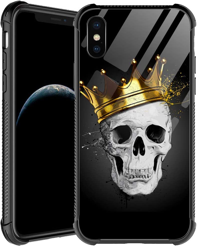 iPhone Xs Case,Golden Crown Skull iPhone X Cases for Men Boys,Shockproof Anti-Scratch Soft TPU Pattern Design Case for Apple iPhone X/Xs 5.8-inch Golden Crown Skull