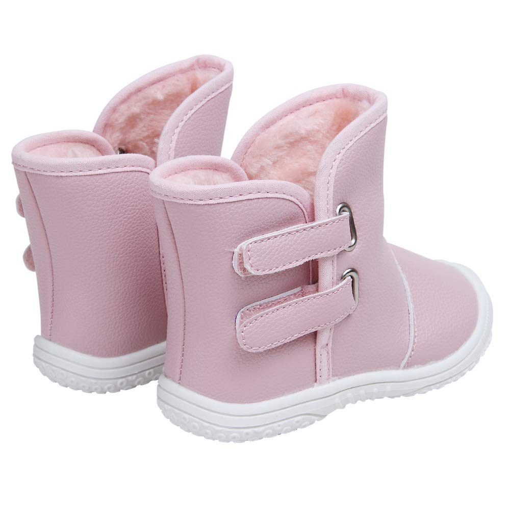 Baby Boys Girls Premium Pu Leather Soft Rubber Sole Plush Warm Outdoor Snow Boots