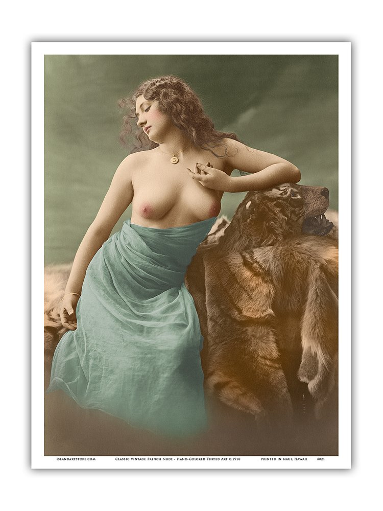 Vintage Erotica c.1910 Classic Vintage French Nude Hand-Colored Tinted Art Master Art Print 12in x 18in