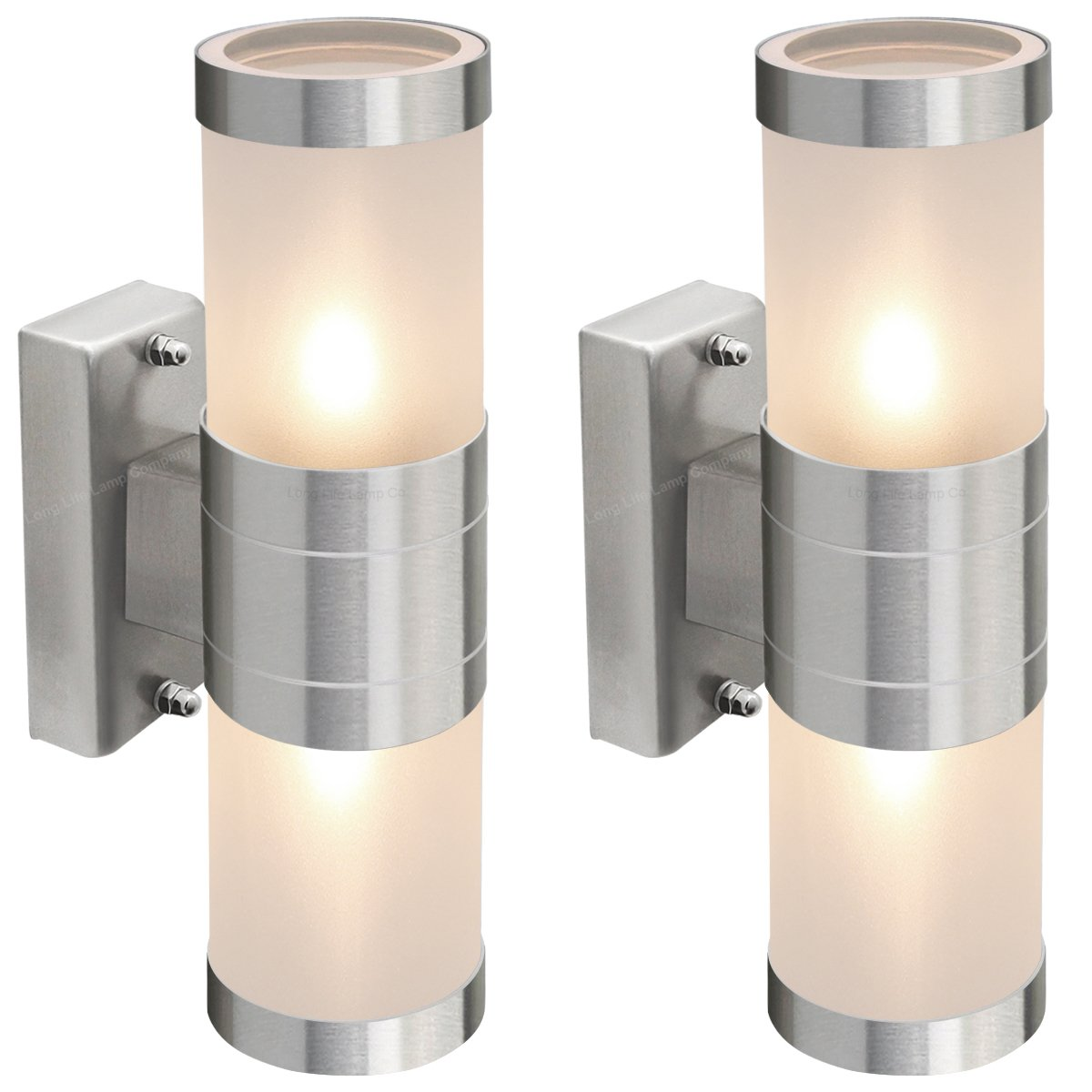 2 X Stainless Steel Up Down Wall Light Frosted Glass Cover IP44 Garden Wall Light ZLC017 Long Life Lamp Company. ZLC0172P