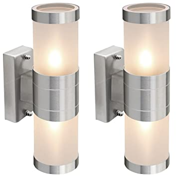 2 x stainless steel up down wall light frosted glass cover ip44 2 x stainless steel up down wall light frosted glass cover ip44 garden wall light zlc017 aloadofball Image collections