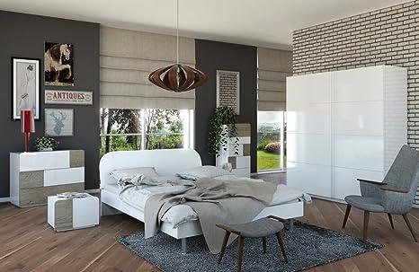 Camera Da Letto Bianco Lucido : Camera da letto matrimoniale componibile completa bianco laccato