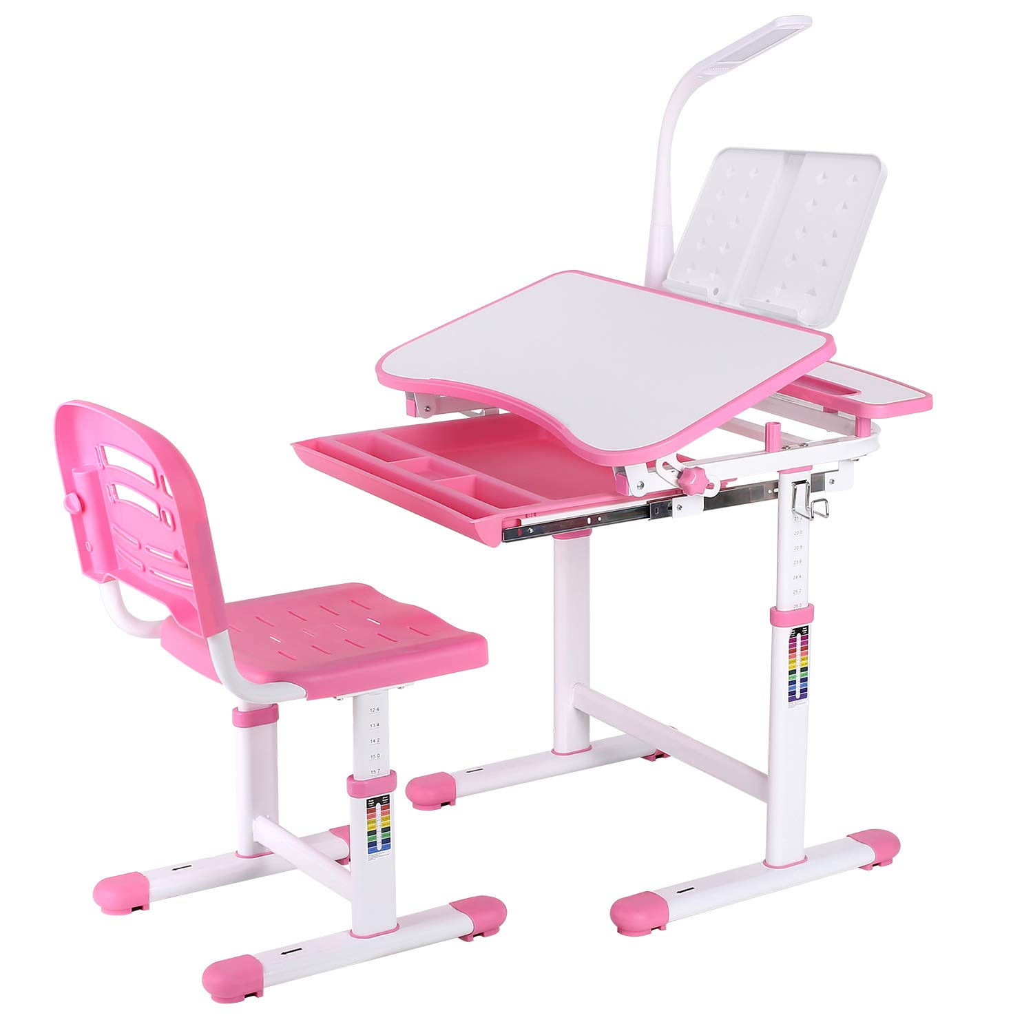 POTBY Kids Desk and Chair Set, Height Adjustable Children Study Table with Wood Tiltable Anti-Reflective Tabletop, Bookstand, Pull-Out Drawer Storage and Touch Led for School Students (Pink) by POTBY