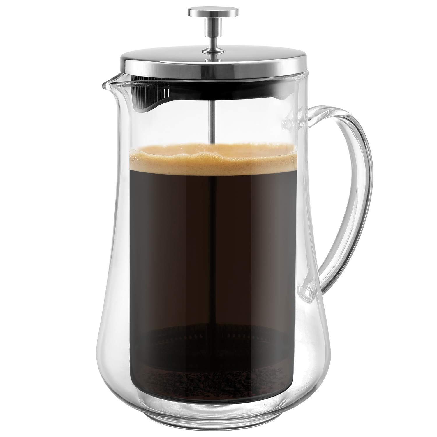 Glass French Press Coffee Maker | Unique Double Wall Design Brewer - Keeps Hot and Cold Longer | 4 Level Filtration System Heat Resistant Borosilicate Durable Glass | Great Gift Idea! 34 oz. (1000ml) by Royexe