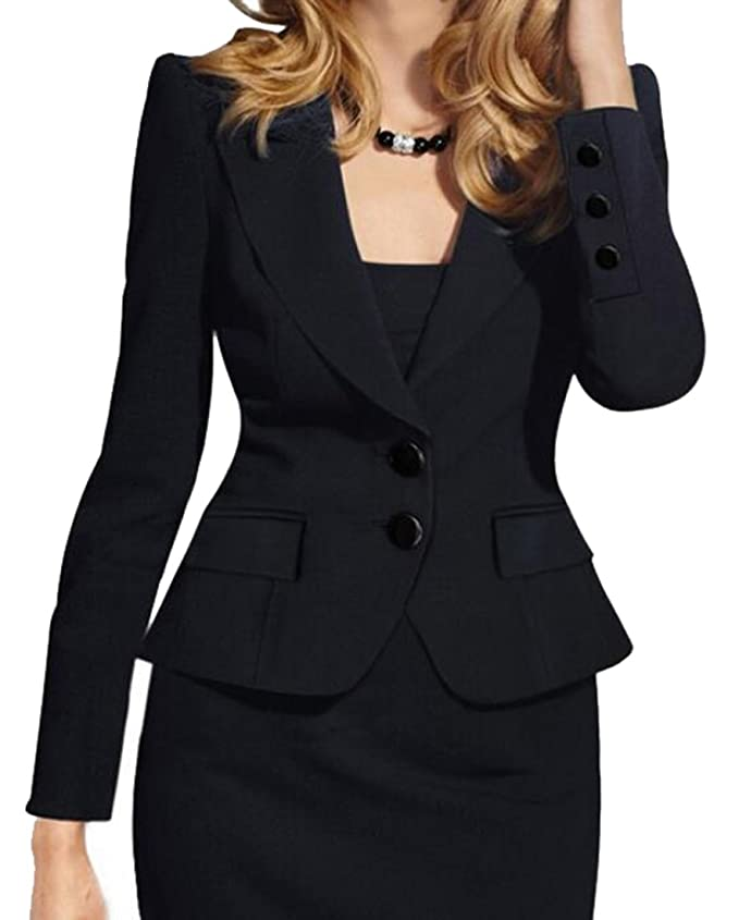 Oberora Women's Elegent Turn Down Collar Wear to Work Jacket Blazer