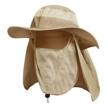 e7e4bd6720c6e Waterproof Boonie Hat Wide Brim Breathable UV Protecting Sun Hats With Ear Neck  Flap Removable Sun