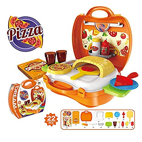 Qiyun Kids Mini Plastic Suitcase Toy Play Doctor/Kitchen/Fashion/Barbecue/Pizza/Cash Register/Tools/Dinosuar Set for Pretend Play Barbecue