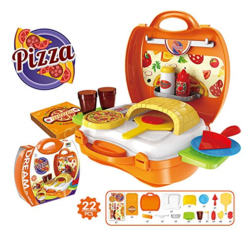 Lanlan 1Pcs Creative Mini Plastic Portable Suitcase Simulation Pretend Play Toys Role Play Dress Up Set Kid Gift Pizza (Fireman Dress Up Accessory Kit)