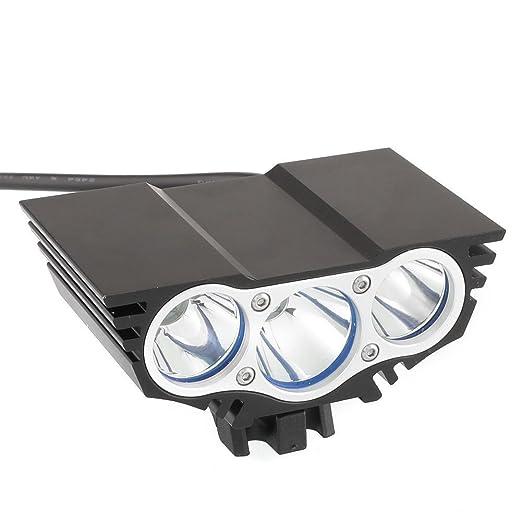 Tobole Solarstorm 6600Lm del faro del Cree x3 bicicleta de la bici llevó la linterna Linterna Negro Con 4x18650 batería 6400mAh (3 * T6, Negro) [Clase de ...