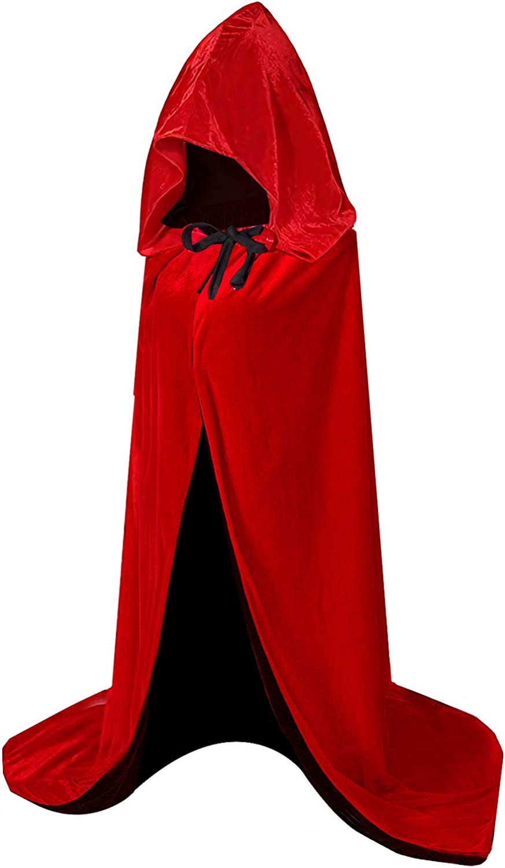 Hamour Unisex Velvet Halloween Cape Full Length Hooded Cloak Adult Costume