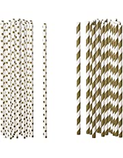 Darice Gold Polka Dot and Stiped Paper Straws, 100 Piece