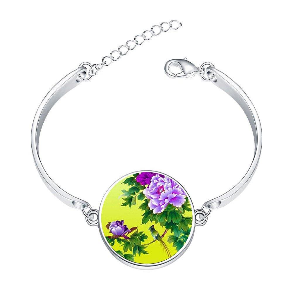Adjustable Silver Bracelets Bronze Peony FlowerHand Chain Link Bracelet Clear Bangle Custom Glass Cabochon Charm