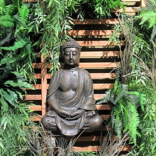 The Global Chic Buddha Statue, Seated in Dhyanasana, Bas Relief Wall Sculpture, 16