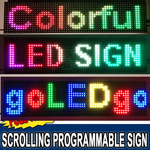 goLEDgo Outdoor Splash Waterproof Ultra Bright RGB Full Color Programmable Scrolling LED Message Marquee Sign, Slim Strong Design with UL Listed Power.