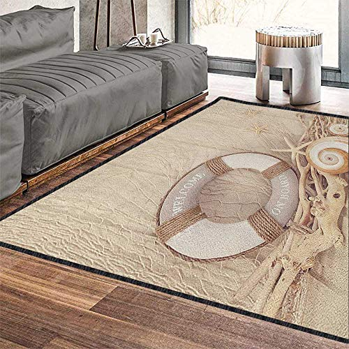 (Coastal Traditional Bright Area Rug,Welcome On Board Life Buoy Wooden Sepia Fishnet Holiday Maritime Theme Print Environmental Protection Fabric Tan Beige White 71