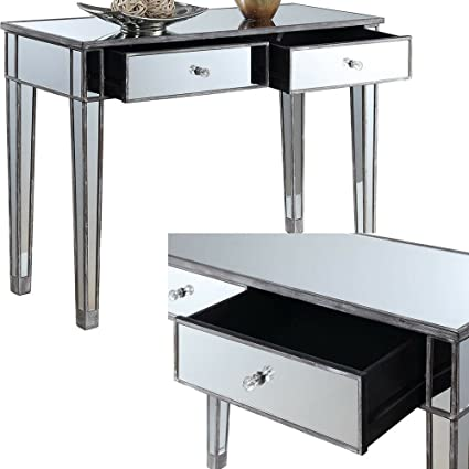 Amazon Com Mirrored Console Table With Drawers Grey Wood And Glass