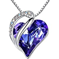 Leafael Infinity Love Heart Pendant Necklace with Birthstone Crystals for 12 Months, Jewelry Gifts for Women, Silver…