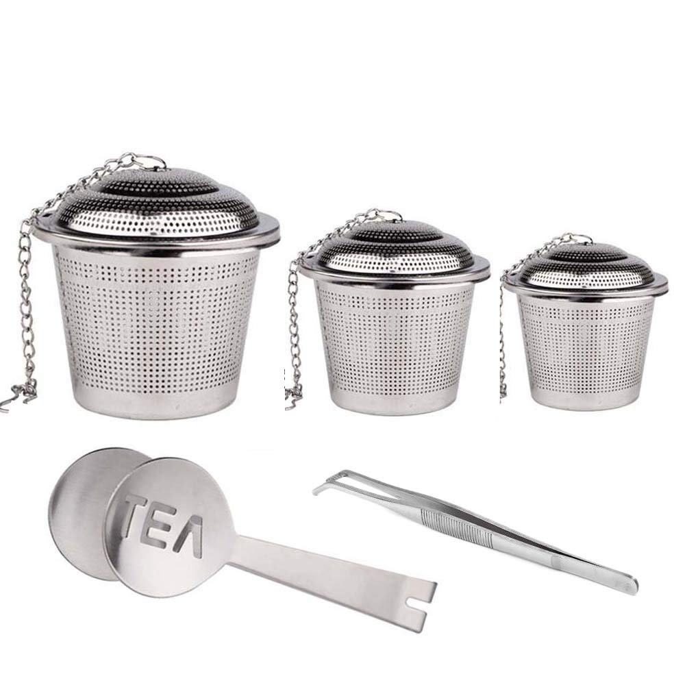 (Set of 5) Loose Tea Tea Infuser with Tea Scoop and Clip,Fine Quality Stainless Steel,Easy to Clean by TOPZEA