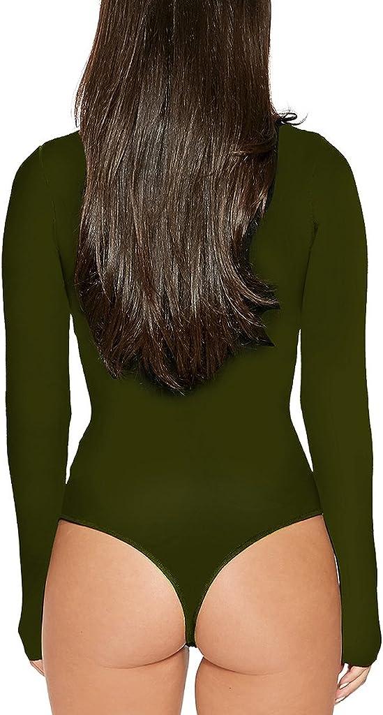 Women High Neck Top Bodysuit Long Sleeve Bodycon Romper Solid Thong Leotard