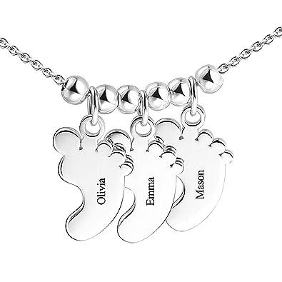 c18aa08dc720 SOUFEEL Collar Nombre Personalizado Colgante Plata de Ley Huella de Bebe  Cadena Ajustble  Amazon.es  Joyería