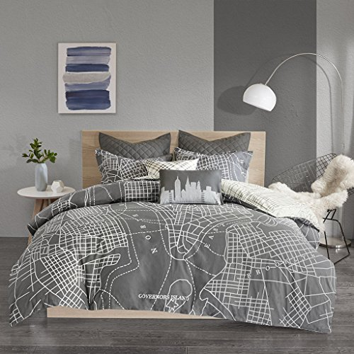 Duvet Cover Manhattan Polyester - Urban Habitat Manhattan Reversible 7-Piece Printed Cotton Duvet Cover Set, King/Cal King, Charcoal