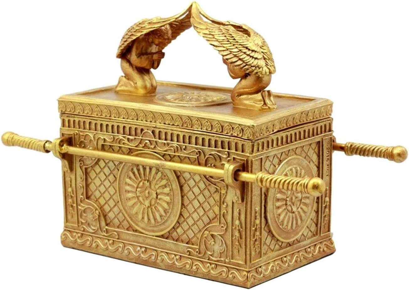Ky Co YK Matte Gold Ark of The Covenant Model with Contents Decor Figurine Jewelry Box