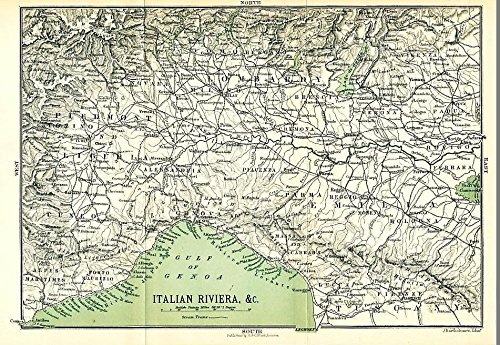 Cuneo to Lucca Italy Italian Riviera 1905 uncommon color lithograph regional map