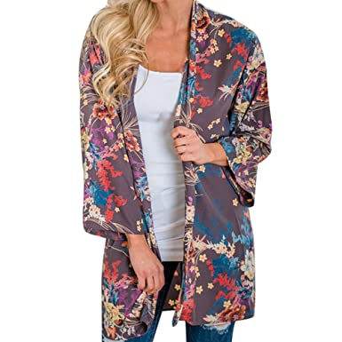 ac93f3aa6cd Women s Flowy Kimono Cardigan Open Front Maxi Dress Flower Pattern Sheer  Chiffon Beachwear Bikini Cover Ups at Amazon Women s Clothing store