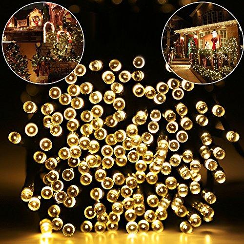 Warm White LED Solar String Lights, 200 LED, 72 Feet, Waterproof