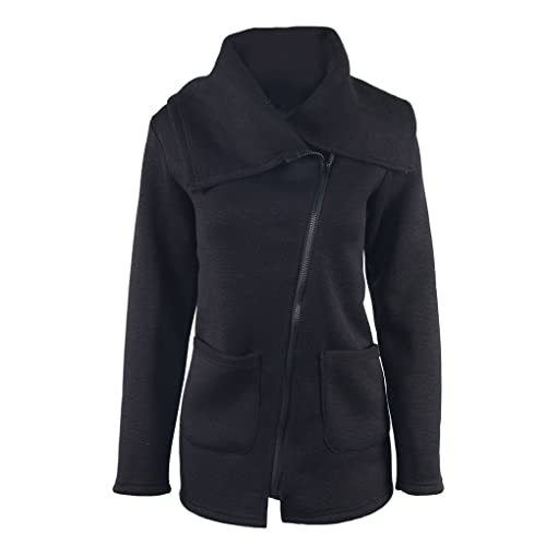 Prendas de abrigo Suéteres Mujer Invierno cuello de cisne Diagonal Zipper Pockets Loose Thick Warm C...