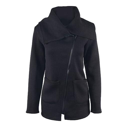 Prendas de abrigo Suéteres Mujer Invierno cuello de cisne Diagonal Zipper Pockets Loose Thick Warm Casual Jacket Coat Overcoat Tops Minzhi