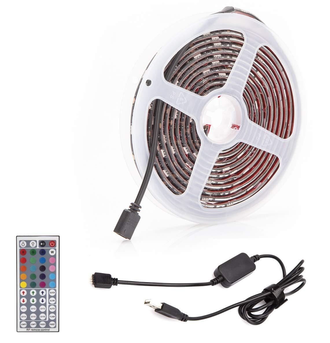 ALOTOA 118 Inch USB LED TV Strip, 44 key Remote Control RGB LED TV Backlighting Strip, 10ft Bias Lighting for 55-75 HDTV Desktop PC Kitchen Bedroom Automotive Under Cabinet Home Theater TongYa