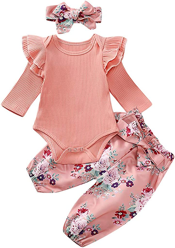 Shan-S Girl Jumpsuit Suit,Infant Baby Girls Long Sleeve Frill Ruffles Solid Color Pit Romper Bodysuits Hair Band Outfits Set Floral Pants