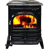HiFlame EPA approved 1,200 Square Feet cast iron wood burning stove HF517U Enamel Black