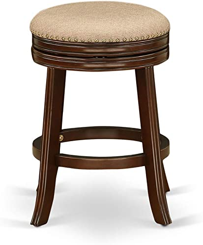 East West Furniture Devers Swivel Backless Barstool 24'' Seat Height