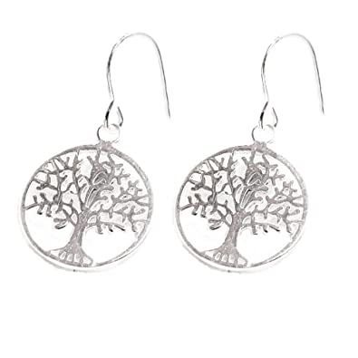 ANTOMUS® SOLID 925 STERLING SILVER PAIR OF TREE OF LIFE EARRINGS 4g4Qj0b