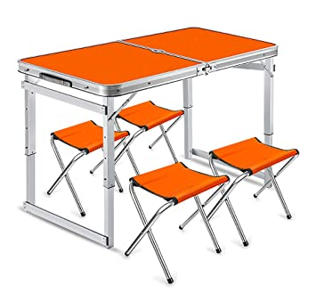 LOVEHOUGE Mesa de Picnic Plegable con 4 sillas, Ajustable en ...