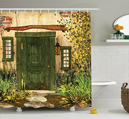 Ambesonne Rustic Decor Collection, Cottage Door Overgrown Bushes Grass Tree Garden Brick Fairytale Countryside Image, Polyester Fabric Bathroom Shower Curtain, 84 Inches Extra Long, Green Ivory Yellow