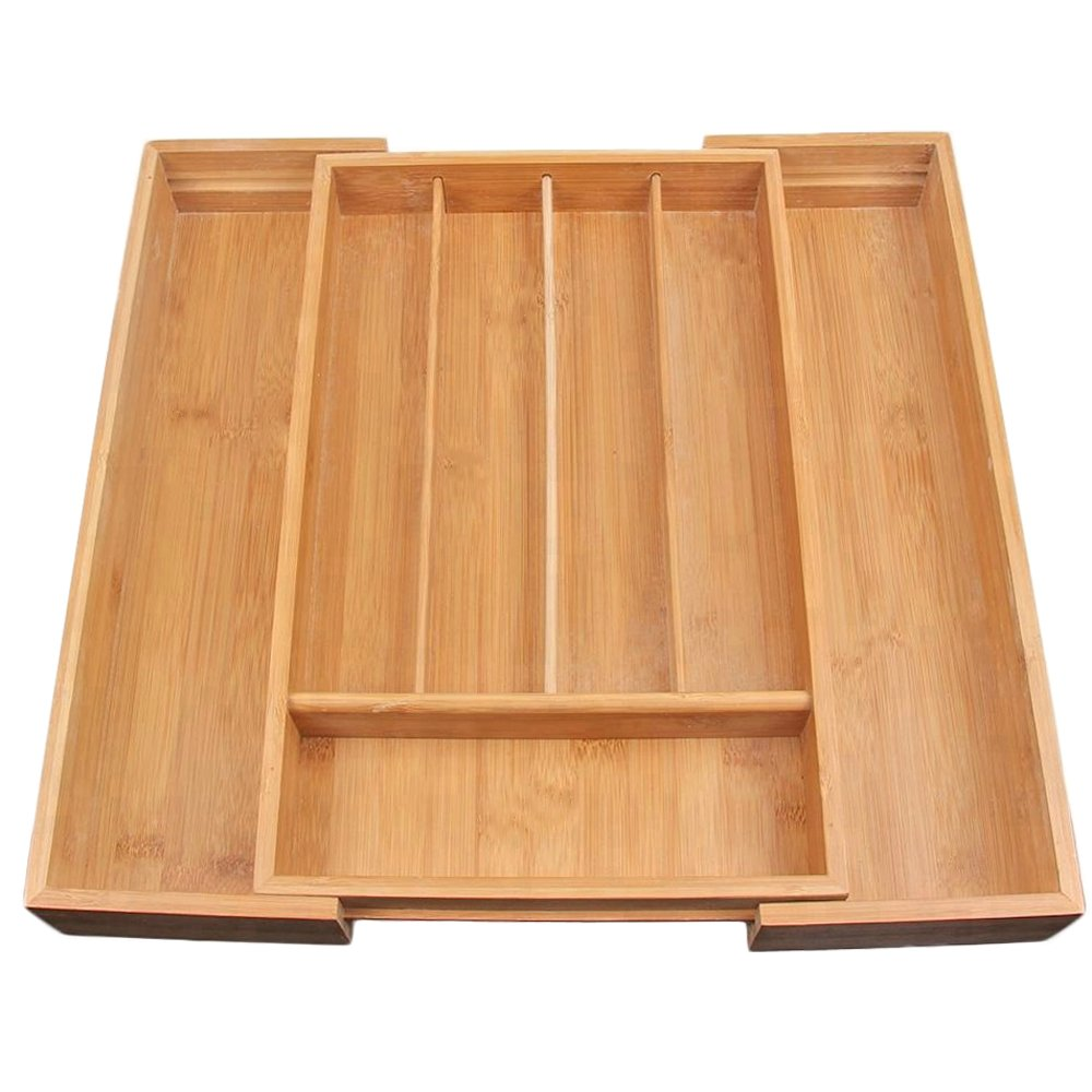 G-LEAF Drawer Organizer,Cutlery Tray Bamboo Expandable w/MDF Bottom