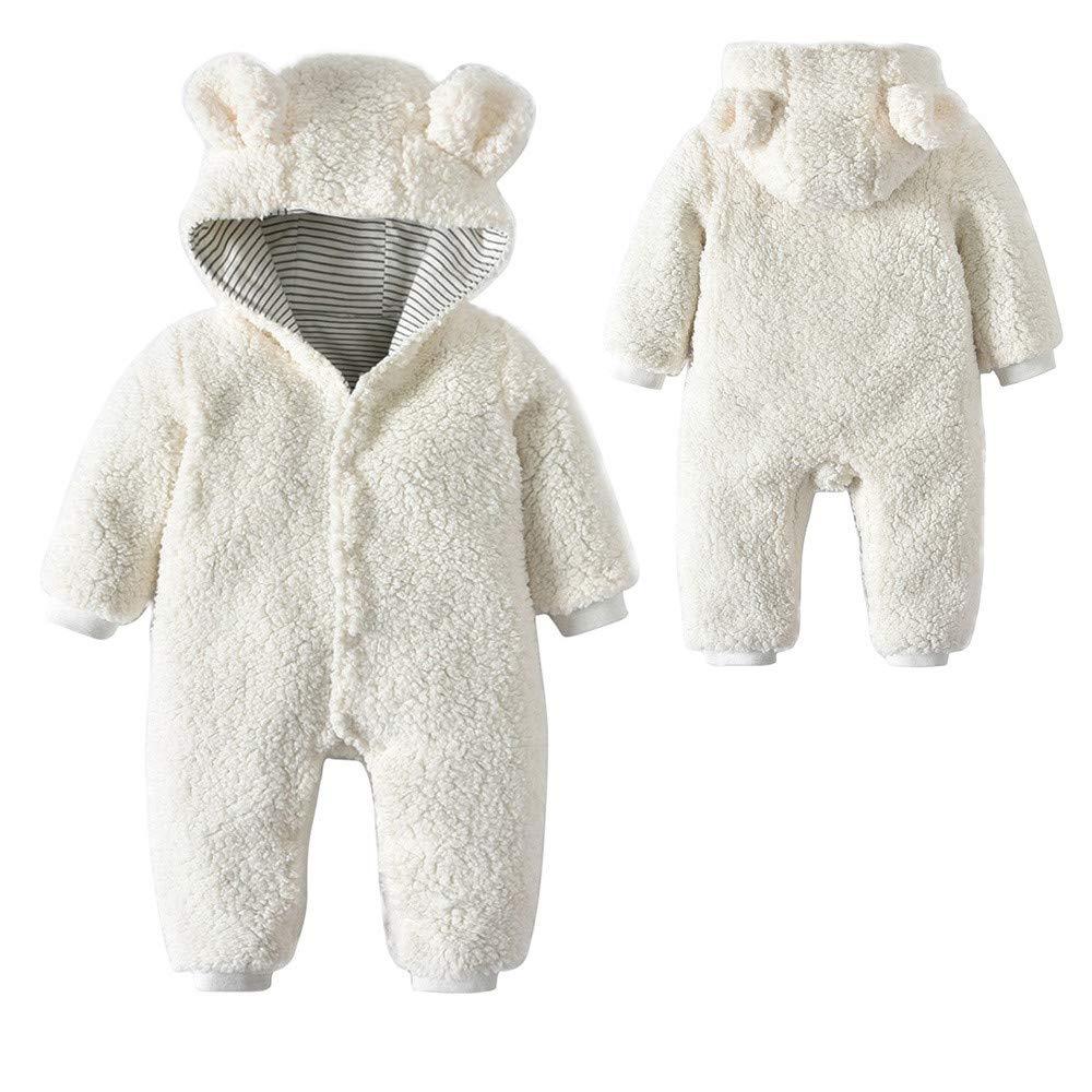 Franterd White Fleece Hooded Rompers Baby Little Girls Boys Cartoon Bear Ears One-Piece Harem Pants Overall Jumpsuits Franterd Baby