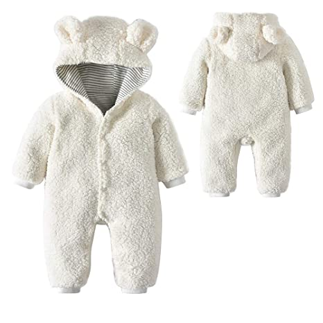 Baby Osos oídos Forro Polar de Invierno con capucha Pelele Mono wickel blanco Blanco Talla: