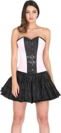 Pink and Black Gothic Corset Burlesque Costume for Halloween Dress 2019 Overbust