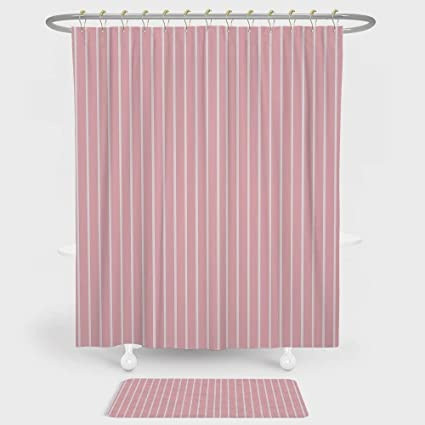 Light Pink Shower Curtain And Floor Mat Combination Set Simplistic Retro Fashion Vertically Striped Pattern Geometric