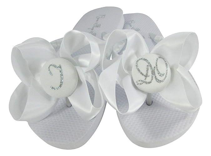 ad2ff74d6 Amazon.com: I Do satin bow Flip Flops in Flat Heel or Wedge Platform:  Handmade