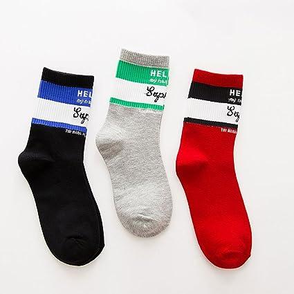Fenfen Calcetines de algodón de Las Medias de los Hombres 3 Pares de Medias Coreanas de