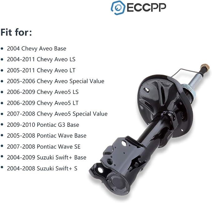 Shocks,SCITOO Front Gas Struts Shock Absorbers Fit for 2004-2011 Chevy Aveo,2006-2009 Chevy Aveo5,2009 2010 Pontiac G3,2005-2008 Pontiac Wave,2004-2009 Suzuki Swift 333417 72295 333418 72296 Set of 2