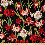 Making Spirits Bright 57 In. Wide Amaryllis Allover Black Fabric By The Yard