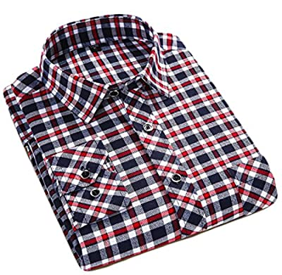 XQS Men's Casual Plaid Long Sleeve Button Down Shirt Dress Shirt
