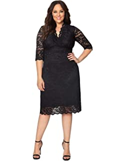 c8a22015783 Kiyonna Women s Plus Size Luna Lace Cocktail Dress at Amazon Women s ...